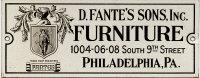 Fante's Furniture Label