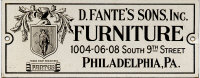 Fante's Furniture Label