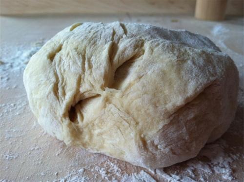 Knead dough for corzetti pasta
