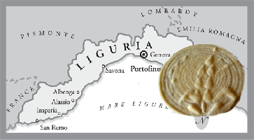 Corzetti with map of Liguria