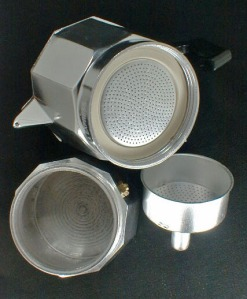 Parts of a Traditional Aluminum Machinetta for Espresso
