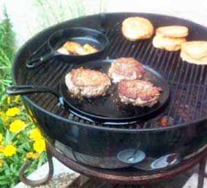 Cooking on the grill with Lodge cast-iron
