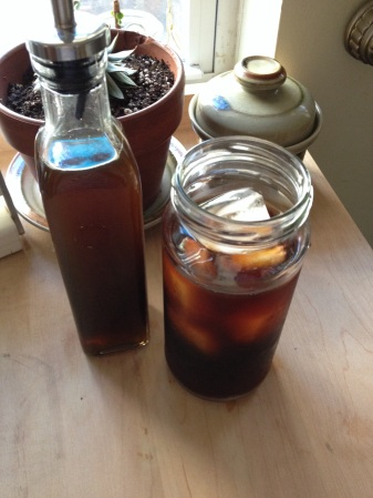 Here's a cup of cold brewed coffee, paired with a simple syrup of 1:1 organic turbinado sugar and water.