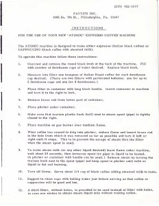 Original 1960's Fante's instructions distributed with the Atomic Espresso & Cappuccino Coffee Machine