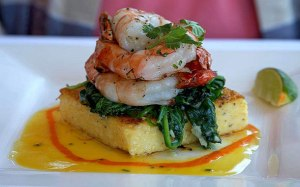 Polenta with Shrimp and Spinach